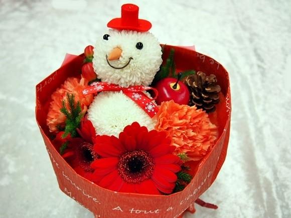 クリスマス そのまま飾れるブーケ「おめかし雪だるまのブーケ」